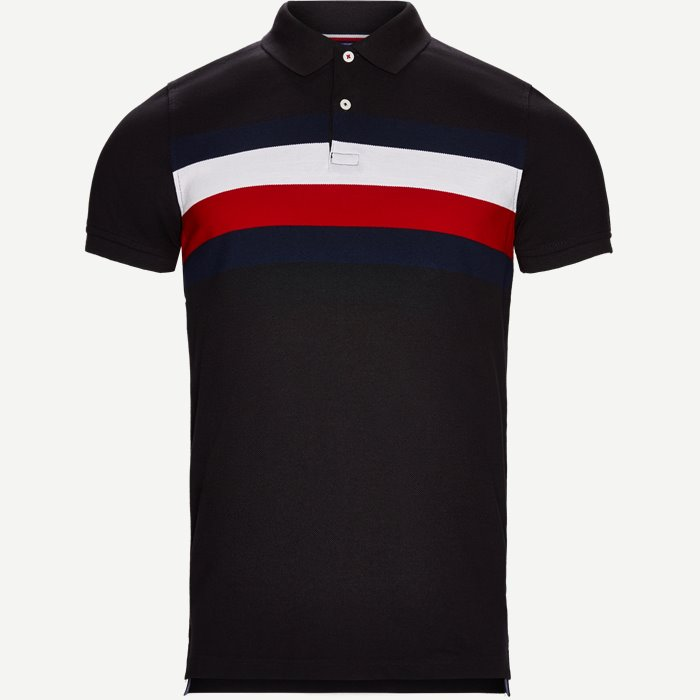 Chest Stripe Polo T-shirt - T-shirts - Slim - Sort