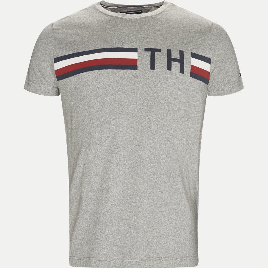 STRIPED LOGO GRAPHIC TEE - Striped Logo Tee - T-shirts - Regular - GRÅ - 1
