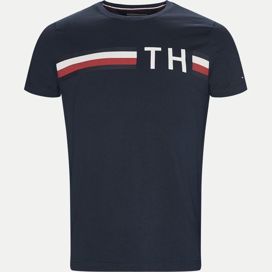 STRIPED LOGO GRAPHIC TEE - Striped Logo Tee - T-shirts - Regular - NAVY - 1