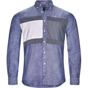 Flag Patchwork Shirt Regular | Flag Patchwork Shirt | Blå