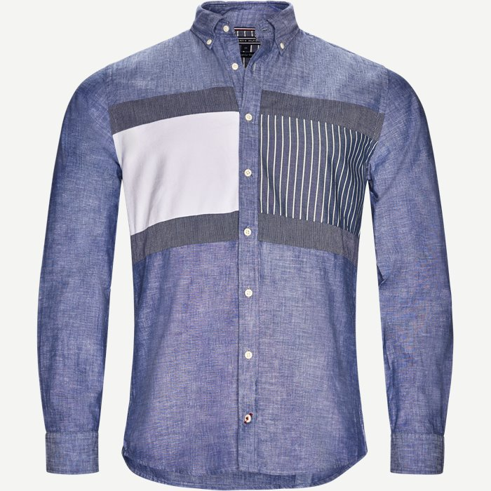 Flag Patchwork Shirt - Skjorter - Regular - Blå