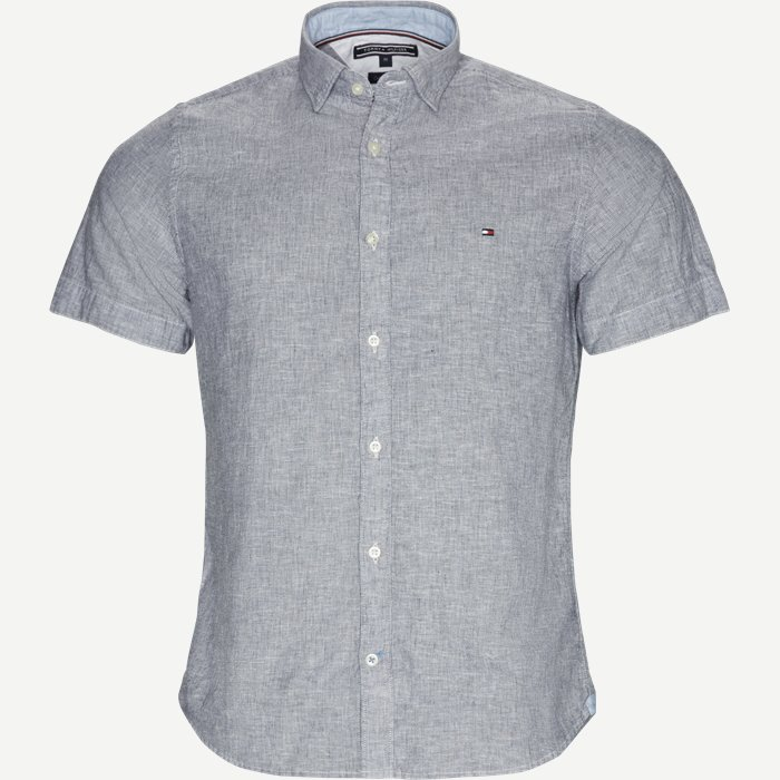 Short Sleeve Fine Stripe Shirt - Kortærmede skjorter - Regular - Blå