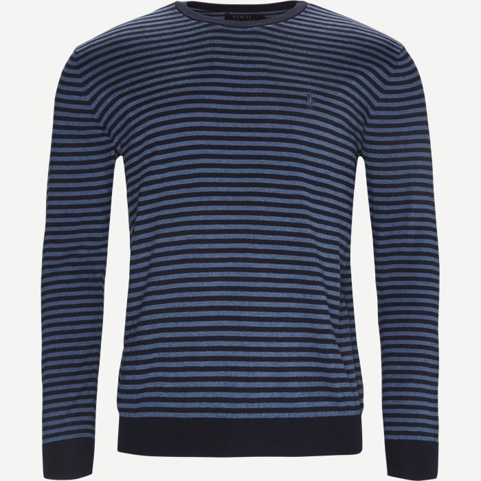 Pima Cotton Crew Neck Pullover - Strik - Regular - Blå