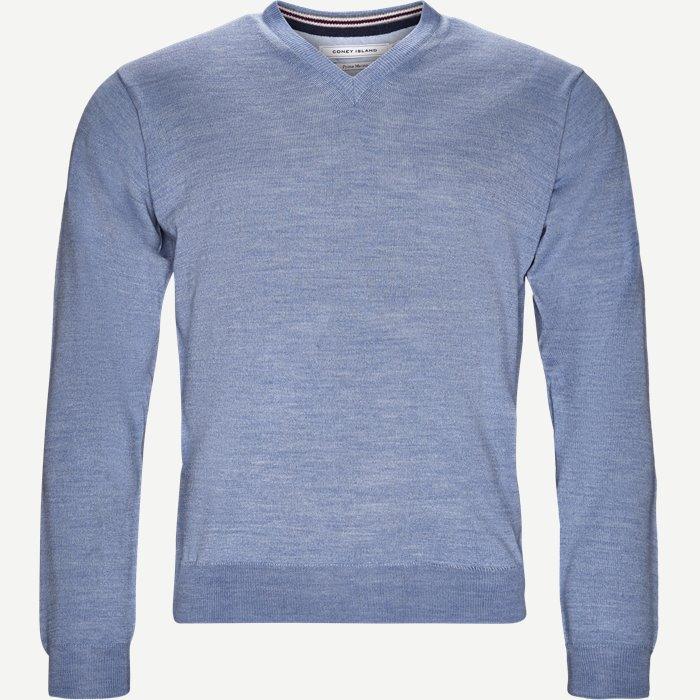 Perigia V-neck Strik - Strik - Regular - Blå