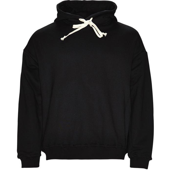 Flag Hoodie - Sweatshirts - Loose - Sort