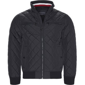 Striped Rib Quilted Bomber Regular | Striped Rib Quilted Bomber | Blå