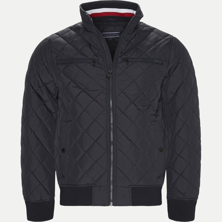 STRIPED RIB QUILTED BOMBER 7697 - Striped Rib Quilted Bomber - Jakker - Regular - NAVY - 1