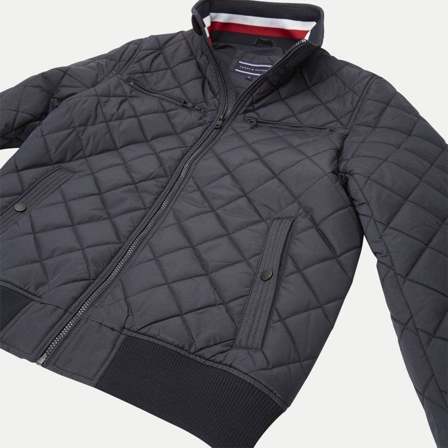 STRIPED RIB QUILTED BOMBER 7697 - Striped Rib Quilted Bomber - Jakker - Regular - NAVY - 7
