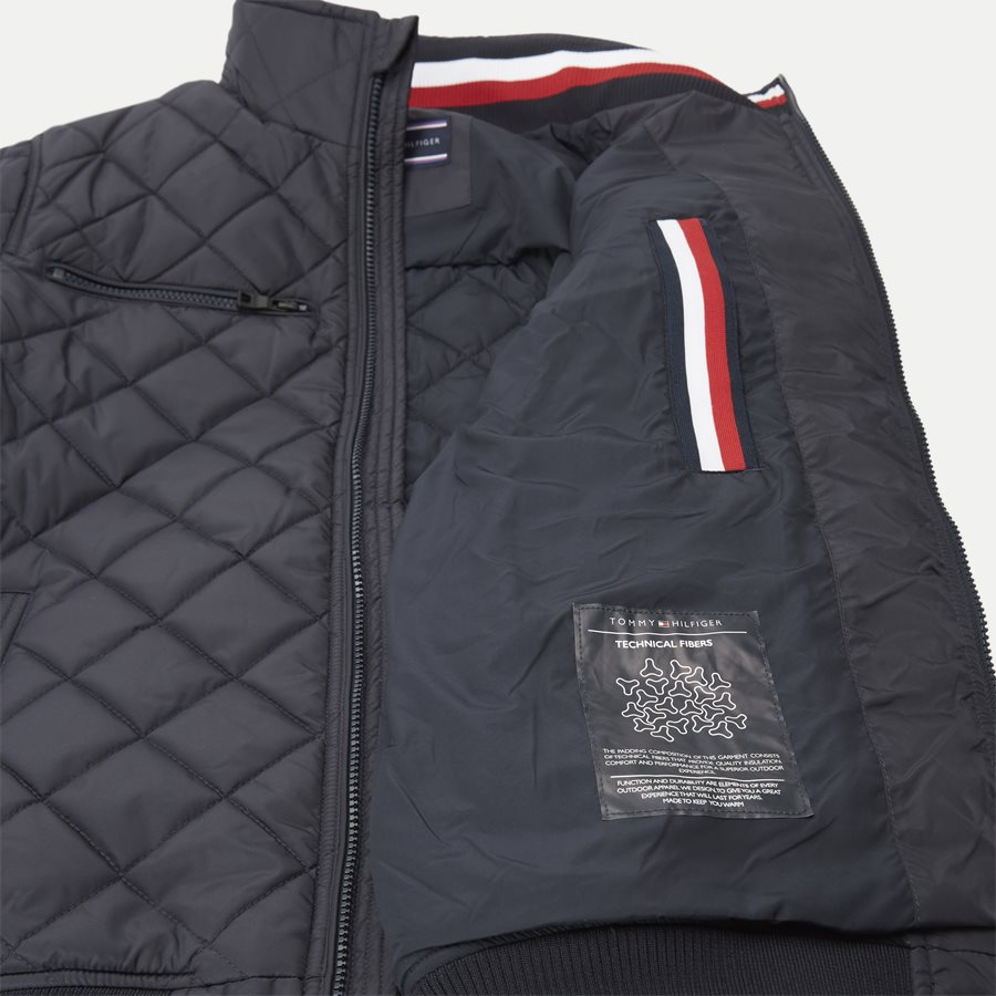 STRIPED RIB QUILTED BOMBER 7697 - Striped Rib Quilted Bomber - Jakker - Regular - NAVY - 9