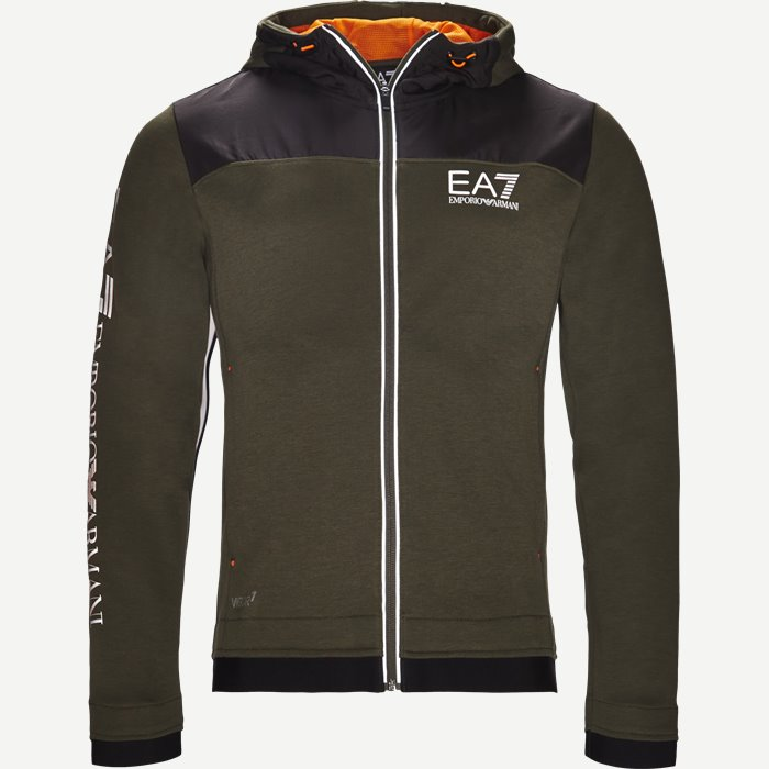 Hooded Zippered Jacket - Sweatshirts - Regular - Army