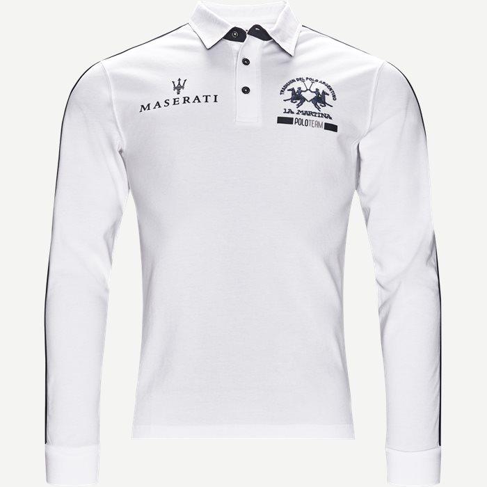 Long Sleeve Pique Polo - T-shirts - Slim - Hvid