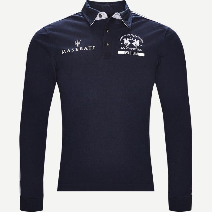 Long Sleeve Pique Polo - T-shirts - Slim - Blå