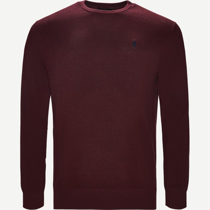 Pima Cotton Textured Crew Neck Pullover - Strik - Regular - Bordeaux