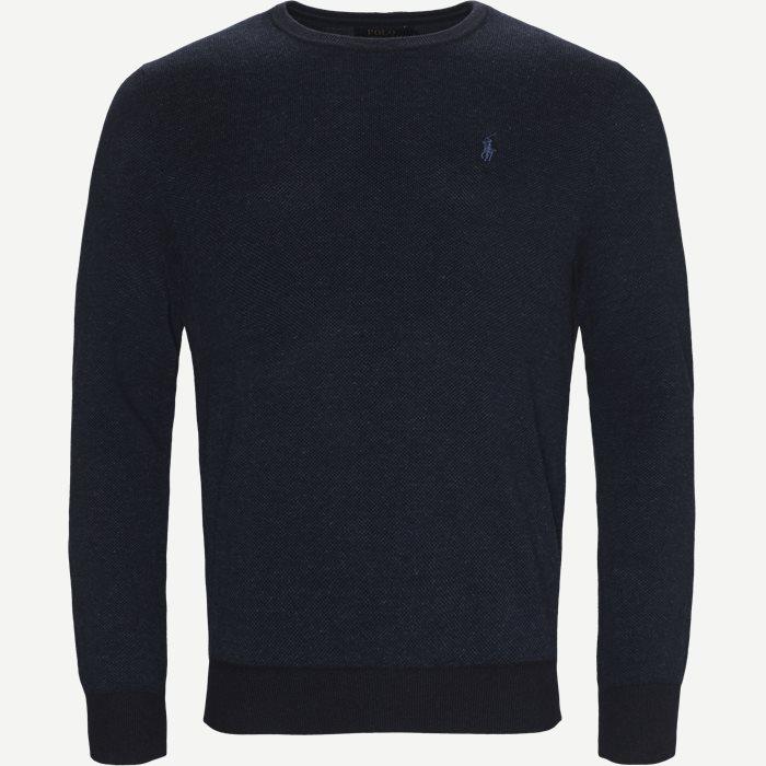 Pima Cotton Textured Crew Neck Pullover - Strik - Regular - Denim