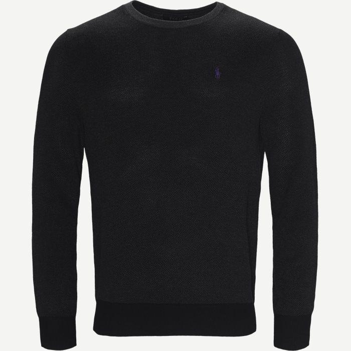 Pima Cotton Textured Crew Neck Pullover - Strik - Regular - Grå