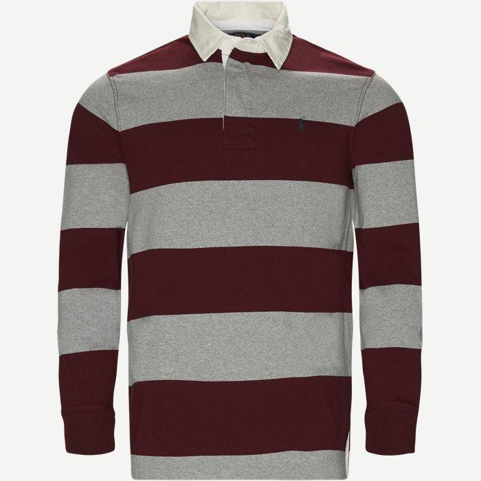Striped Jersey Rugby Sweatshirt - Sweatshirts - Regular - Bordeaux