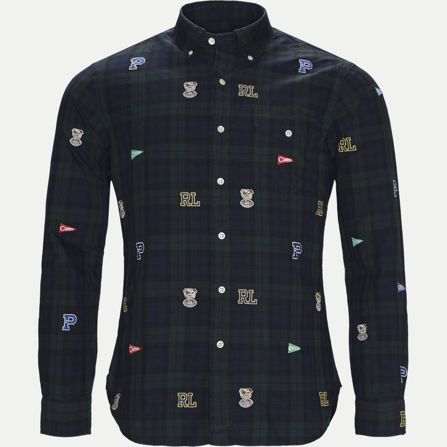710723609 - Printed Check Oxford Shirt - Skjorter - Slim - GRØN - 1