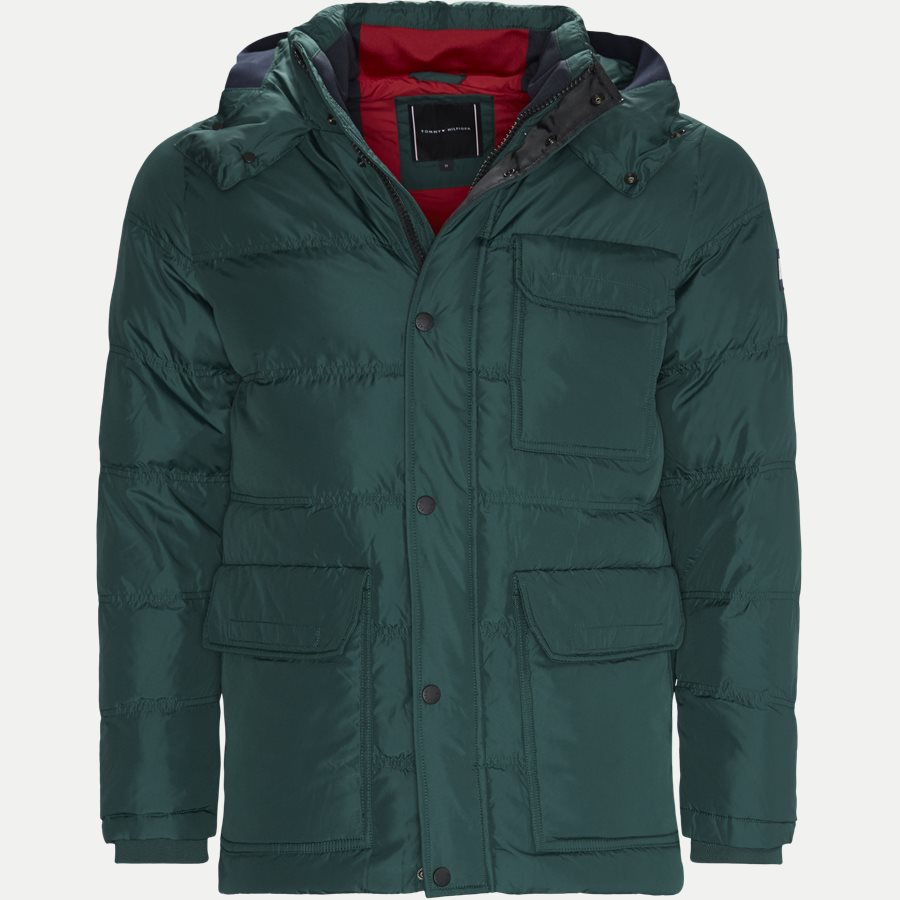 6b668ca1 TOMMY DOWN HOODED BOMBER - Down Hooded Bomber Jacket - Jakker - Regular -  GRØN -. Tommy Hilfiger