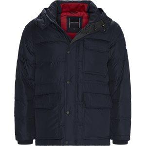 Down Hooded Bomber Jacket Regular | Down Hooded Bomber Jacket | Blå