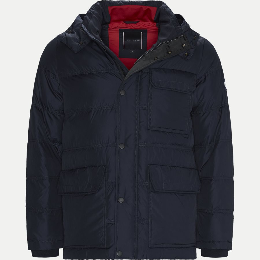 TOMMY DOWN HOODED BOMBER - Down Hooded Bomber Jacket - Jakker - Regular - NAVY - 1