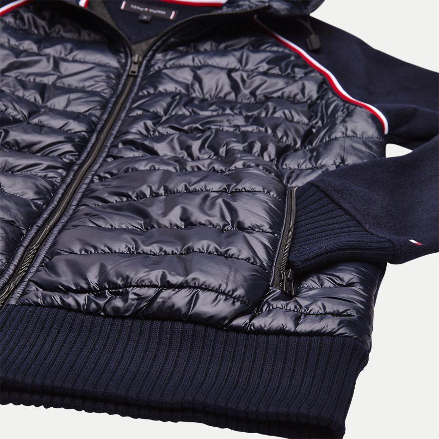 MIXED MEDIA WOOL ZIP HOODIE - Mixed Media Wool Zip Hoodie - Sweatshirts - Regular - NAVY - 4