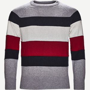 Colorblock Stripe Crew Neck Regular | Colorblock Stripe Crew Neck | Grå