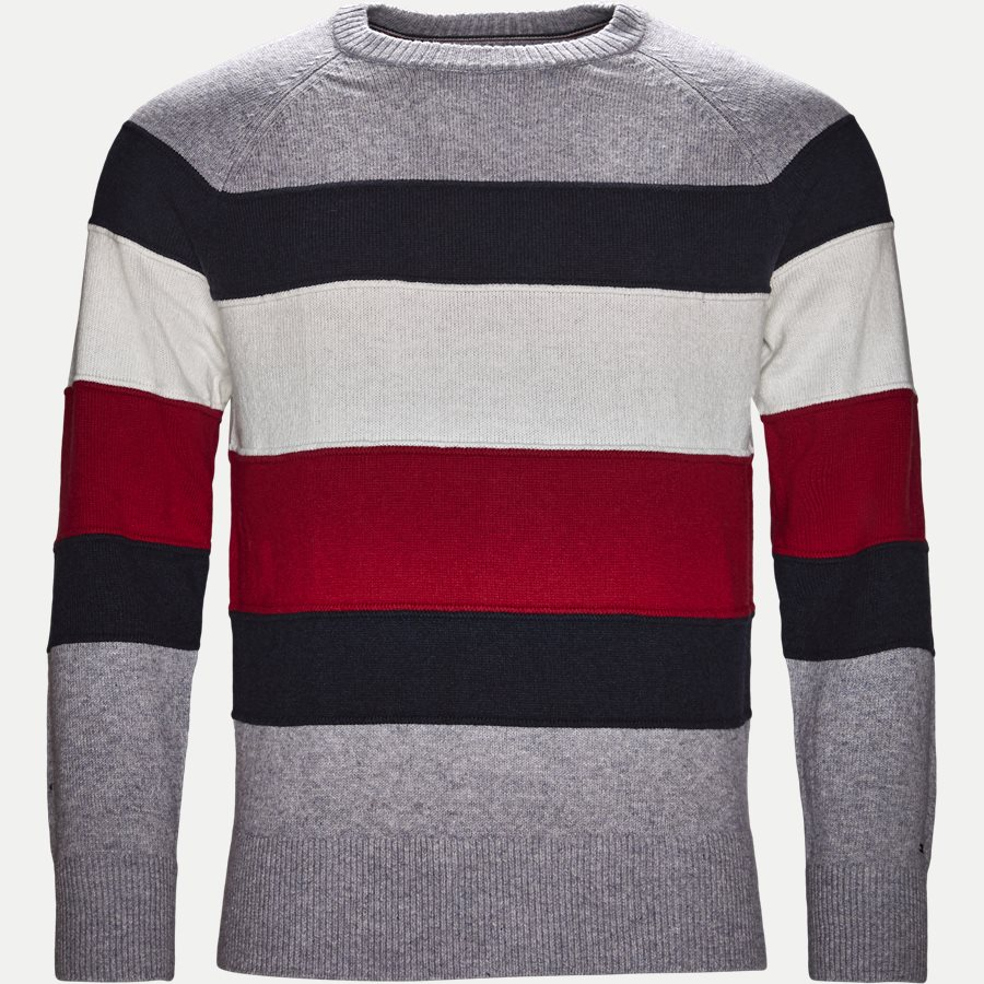 COLORBLOCK STRIPE CNECK - Colorblock Stripe Crew Neck - Strik - Regular - GRÅ - 1