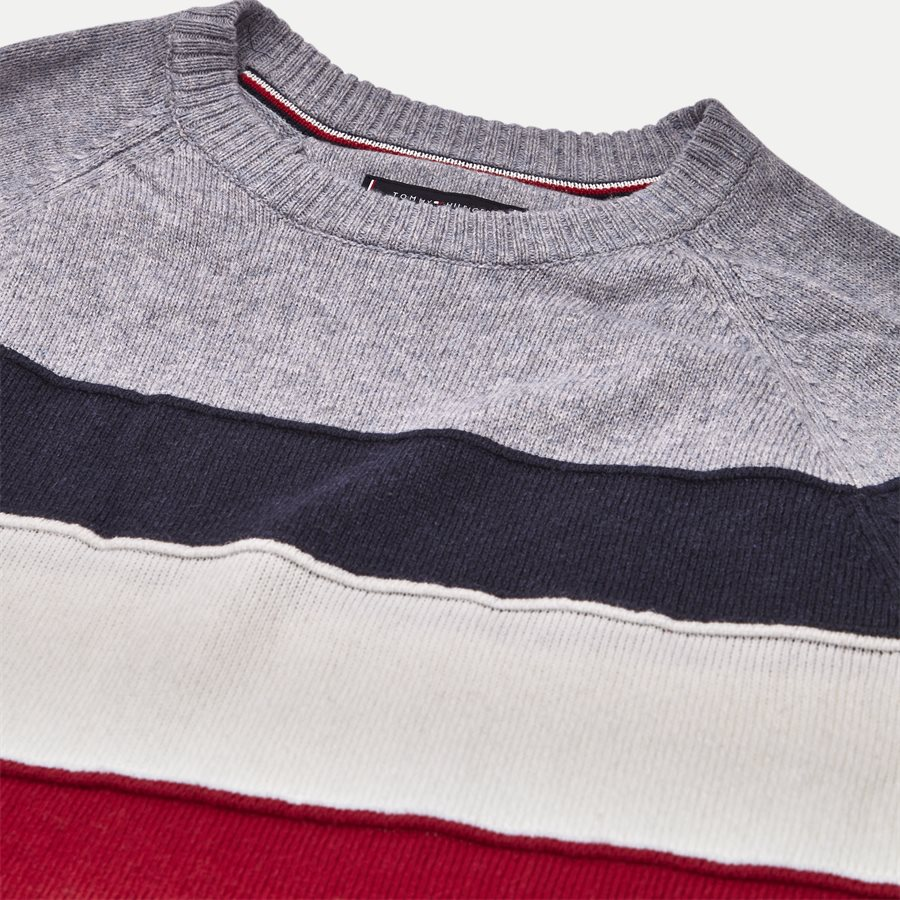 COLORBLOCK STRIPE CNECK - Colorblock Stripe Crew Neck - Strik - Regular - GRÅ - 3