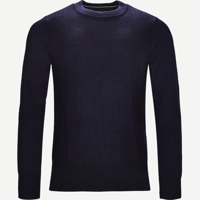 Structured Crew Neck - Strik - Regular - Blå