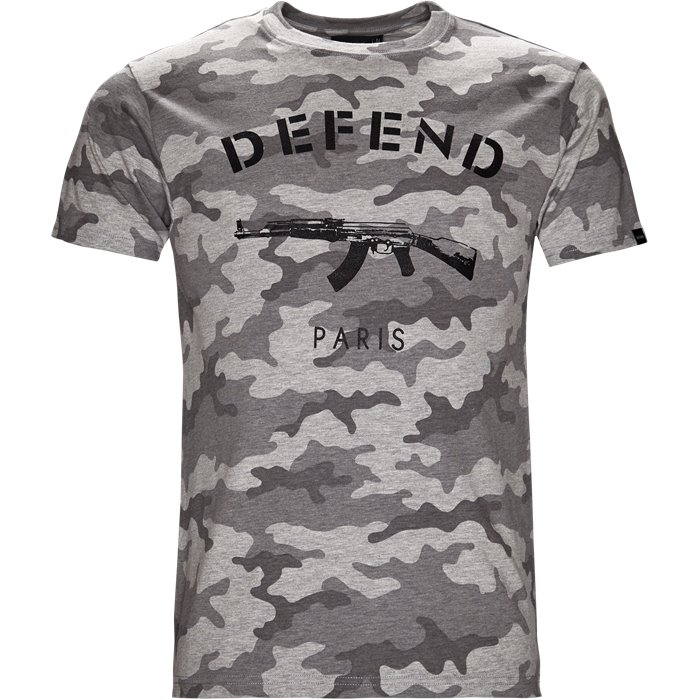 Paris Tee Camo - T-shirts - Regular - Grå