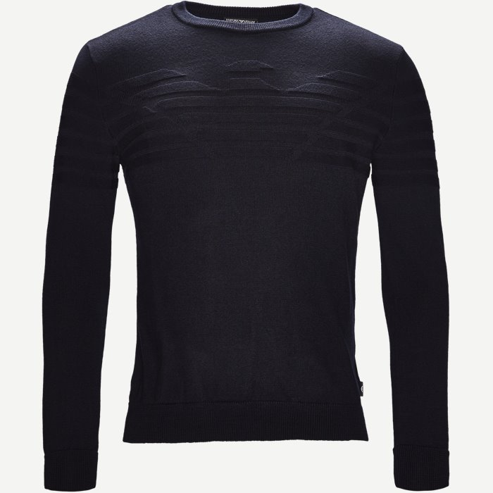 Crew Neck Logo Knit - Strik - Regular - Blå