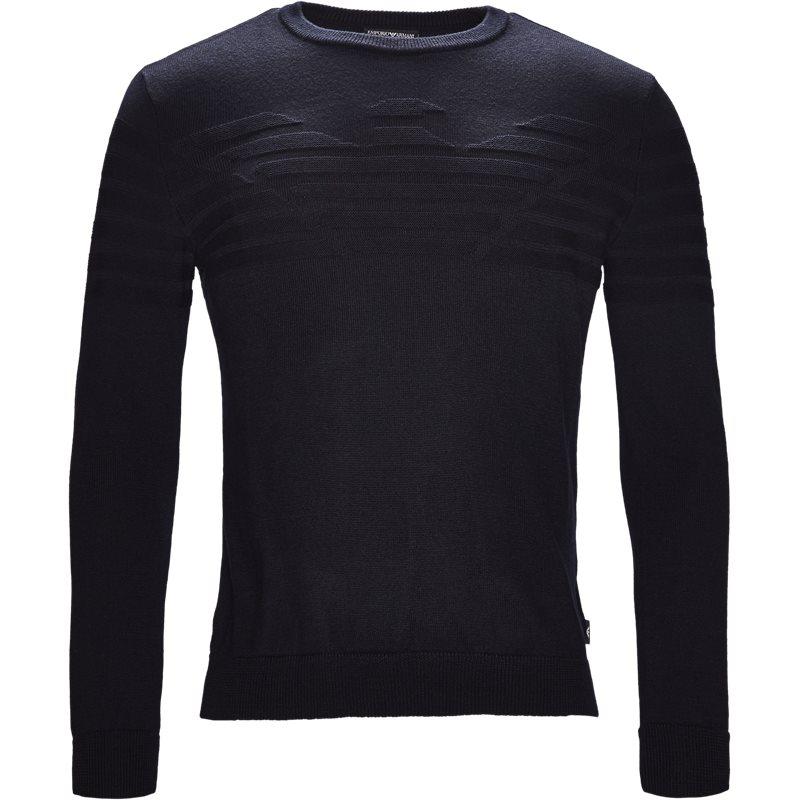 armani jeans Armani jeans - crew neck logo knit på kaufmann.dk