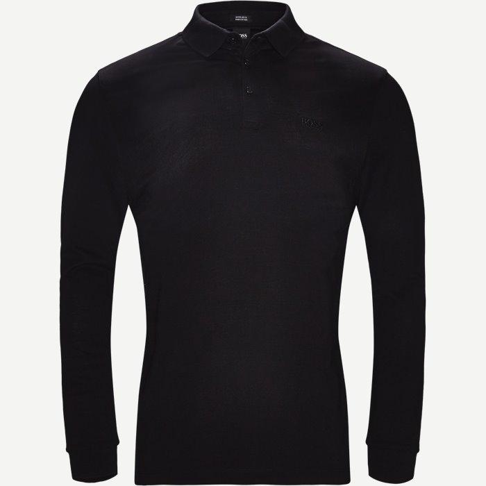 Pado10 Langærmet Polo - T-shirts - Regular - Sort
