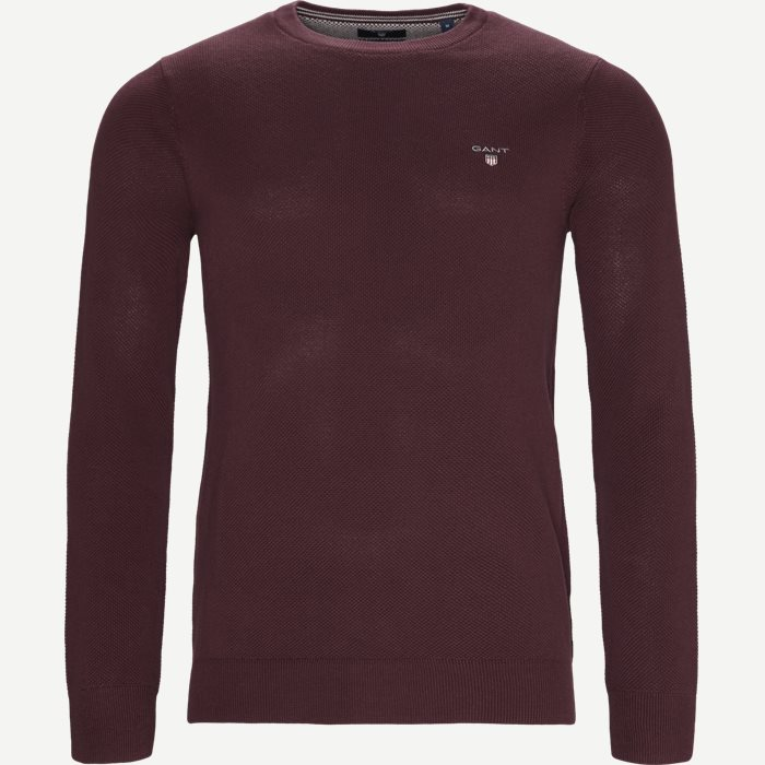 Piqué Crew Neck Strik - Strik - Regular - Bordeaux