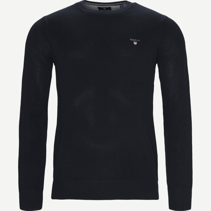 Piqué Crew Neck Strik - Strik - Regular - Blå
