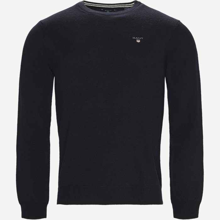 Lambswool Crew Neck Knit - Strik - Regular - Blå