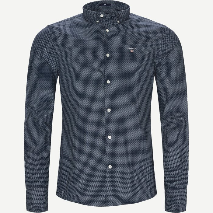 Circle Print Shirt - Skjorter - Regular - Blå