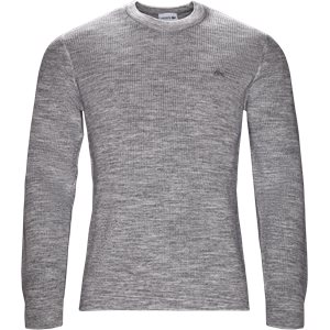 Crew Neck Honeycomb Sweater Regular fit | Crew Neck Honeycomb Sweater | Grå