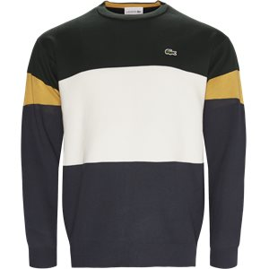 Colorblock Flat Ribbed Cotton Sweater Regular | Colorblock Flat Ribbed Cotton Sweater | Grøn