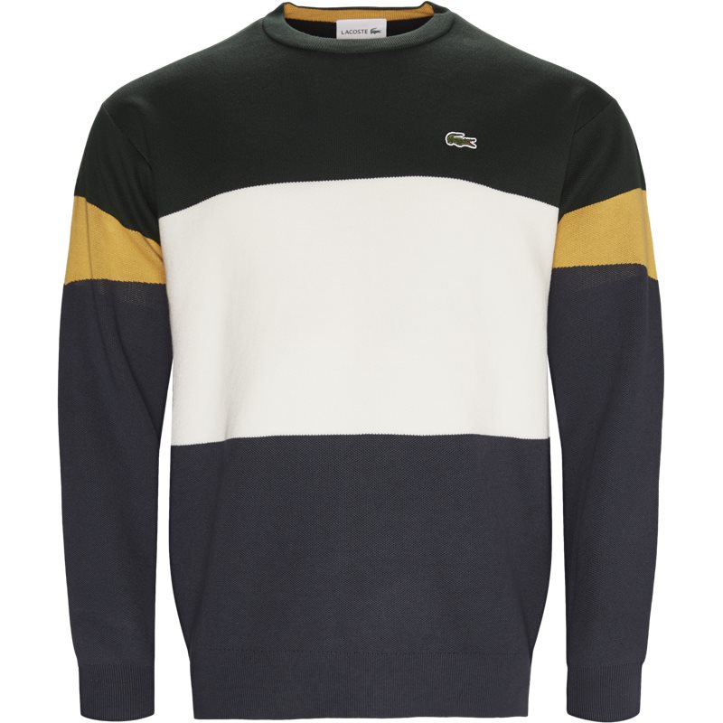 lacoste – Lacoste - colorblock flat ribbed cotton sweater på kaufmann.dk