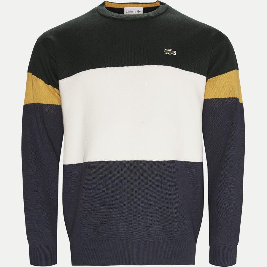 AH9173 - Colorblock Flat Ribbed Cotton Sweater - Strik - Regular - GRØN - 1