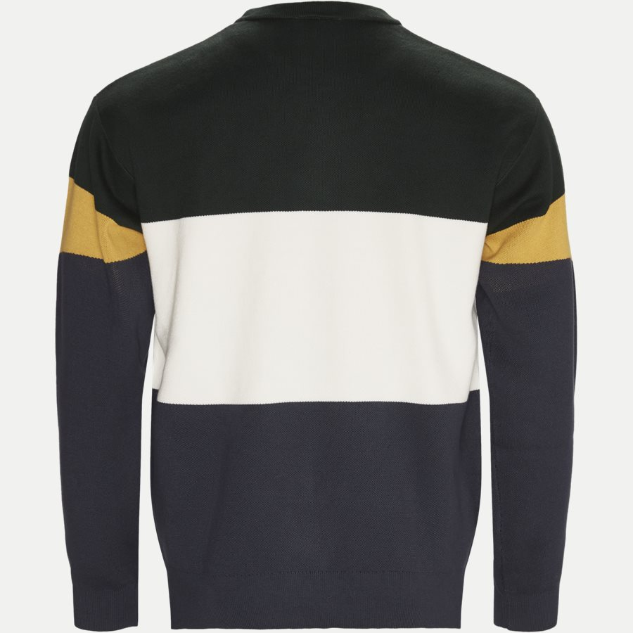 AH9173 - Colorblock Flat Ribbed Cotton Sweater - Strik - Regular - GRØN - 2
