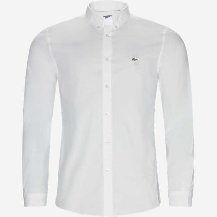 Stretch Cotton Poplin Shirt - Skjorter - Slim - Hvid