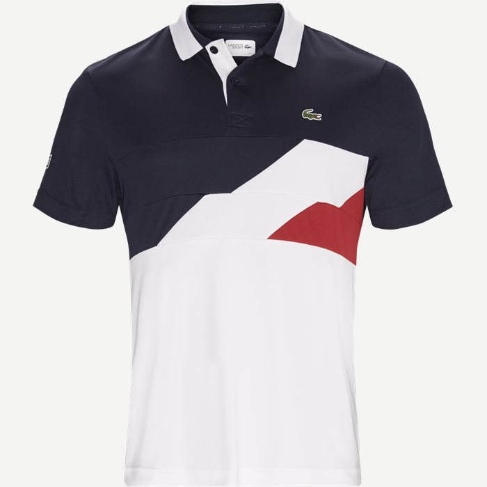 Colorblock Bands Technical Pique Tennis Polo - T-shirts - Regular - Blå