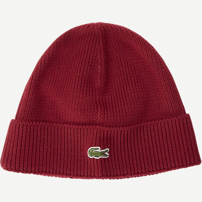 Turned Edge Ribbed Wool Beanie - Caps - Regular - Bordeaux