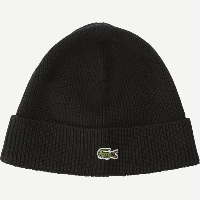 Turned Edge Ribbed Wool Beanie - Caps - Regular - Sort