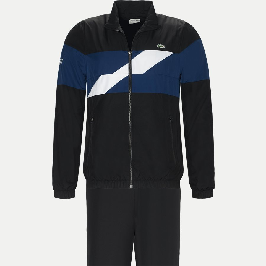WH9538 - Colored Bands Taffeta Tennis Tracksuit - Sweatshirts - Regular - SORT - 1