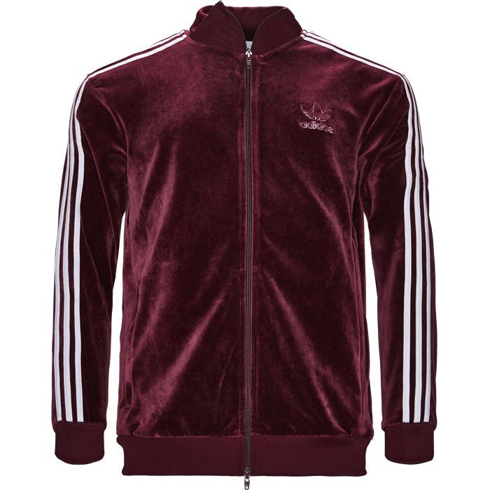 Velour Track Top - Sweatshirts - Regular - Bordeaux