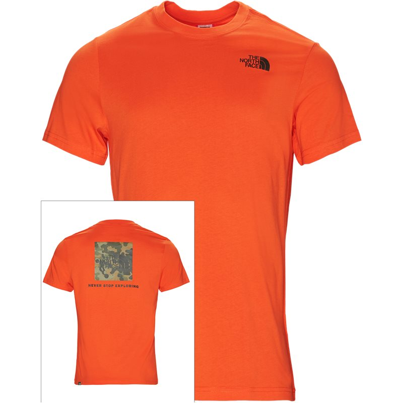 the north face red box tee orange fra the north face