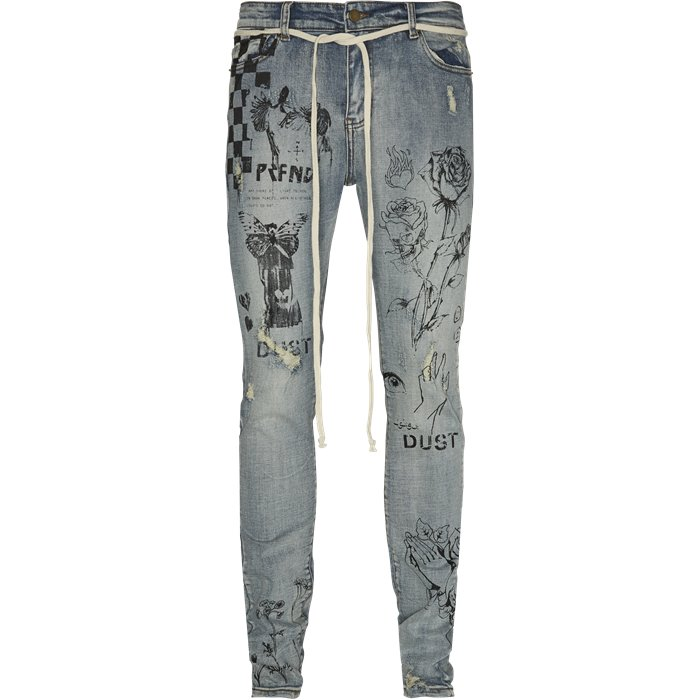 Printed Floral Jeans - Jeans - Regular - Denim